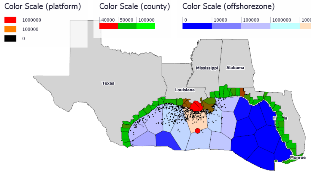 Ventity geospatial visualization of economic impacts of an oil spill in the Gulf of Mexico